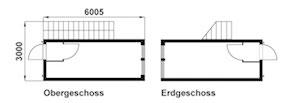 Grundriss eines Bau Containers mit Treppe, Container Vermietung aus München